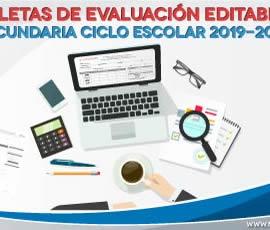 Boletas de evaluación editables. Secundaria 2019-2020