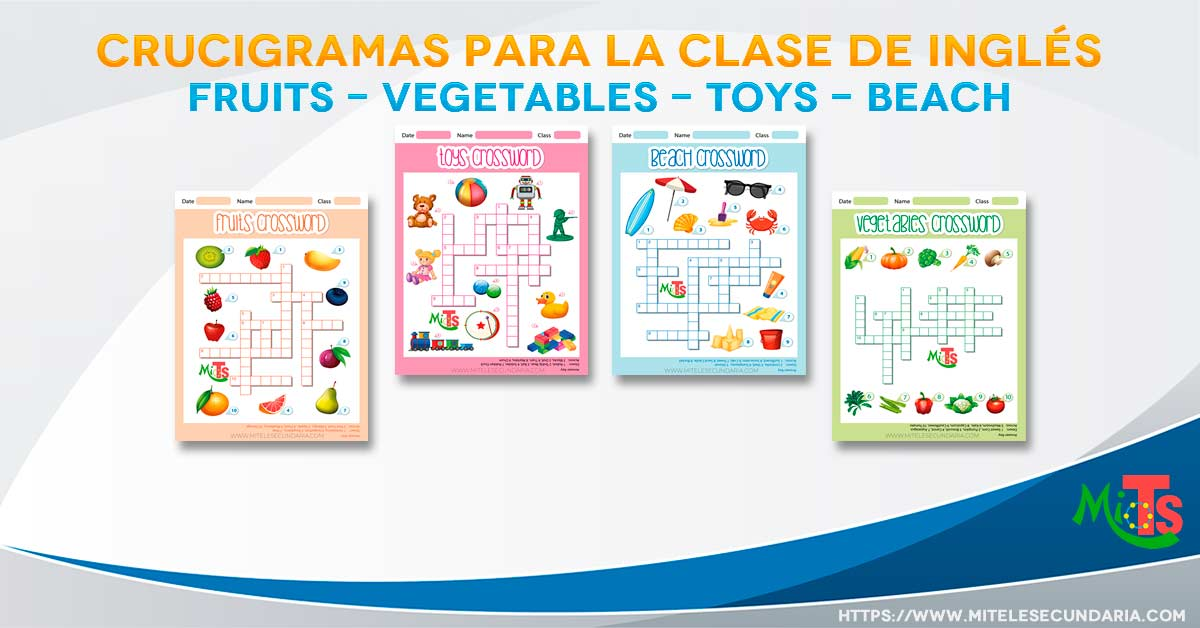 Crucigramas para la clase de inglés. Fruits, vegetables, toys, beach