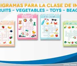 Crucigramas para la clase de inglés. Fruits, vegetables, toys, beach