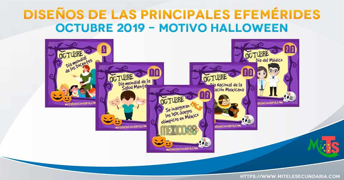 Diseños de Efemérides para octubre halloween 2019