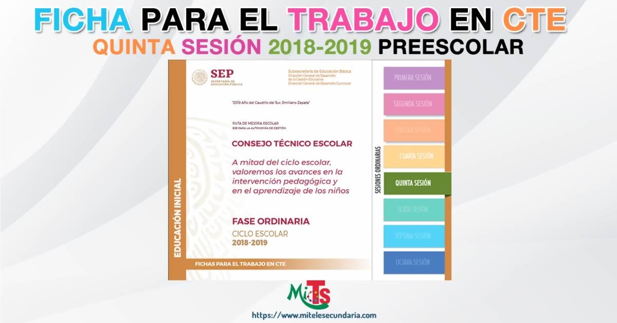 Ficha para el trabajo en CTE de Educación Inicial. Quinta sesión ordinaria 2018-2019