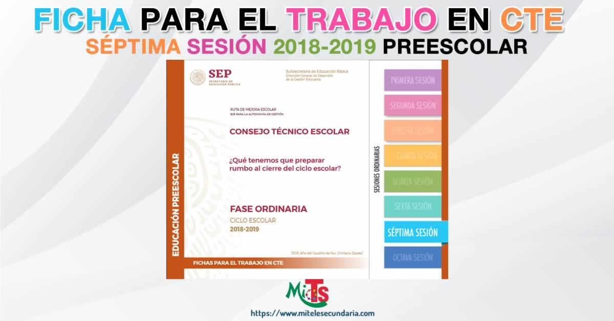 Ficha para el trabajo en CTE de Educación Preescolar. Séptima sesión ordinaria 2018-2019