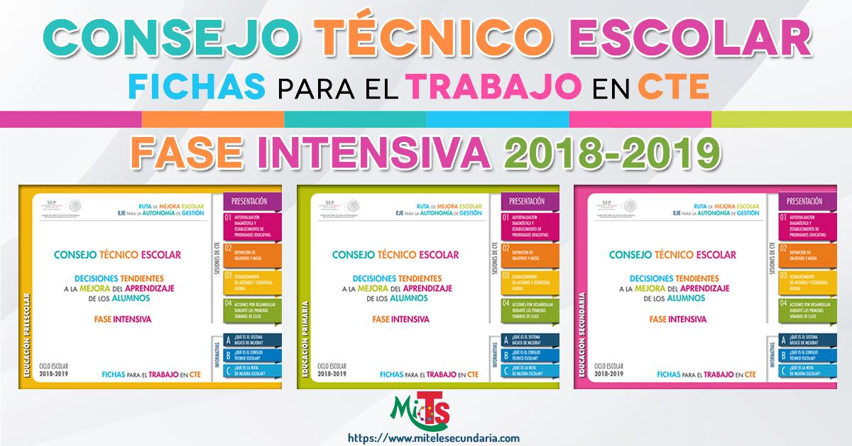 Fichas para el trabajo en CTE. Fase intensiva 2018-2019